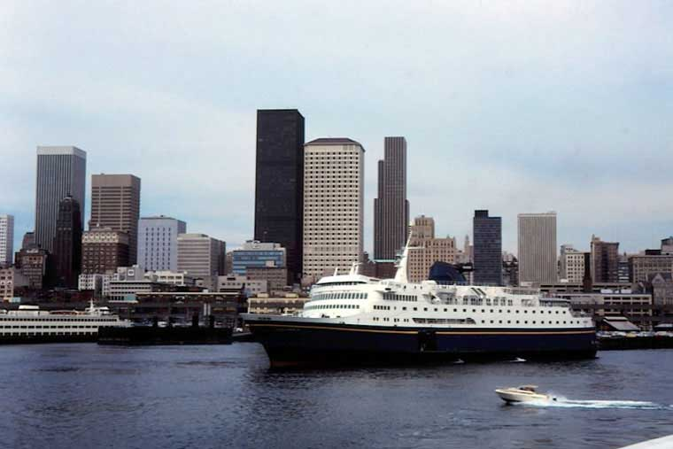 <em>MV Columbia</em> departs Seattle, Bellingham welcomes southern terminus on October 3, 1989 &copy; Ralph Peters