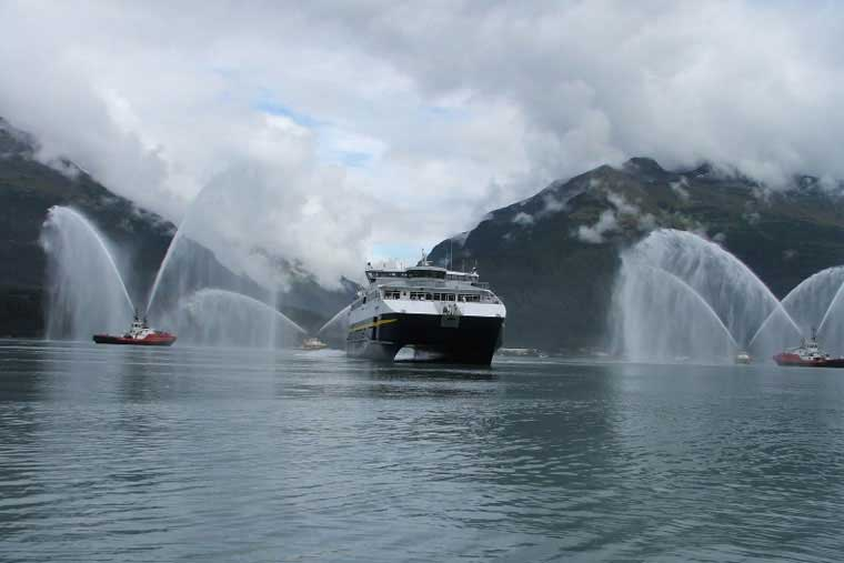 <em>FVF Chenega</em> amid the fire boats in Prince William Sound on inaugural Voyage &copy; AMHS