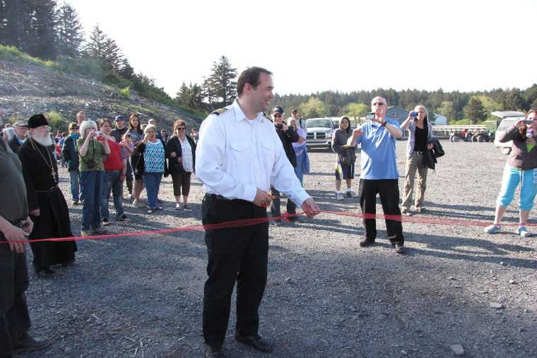 Ribbon cutting ceremony in Ouzinkie © Larry Pesterikoff
