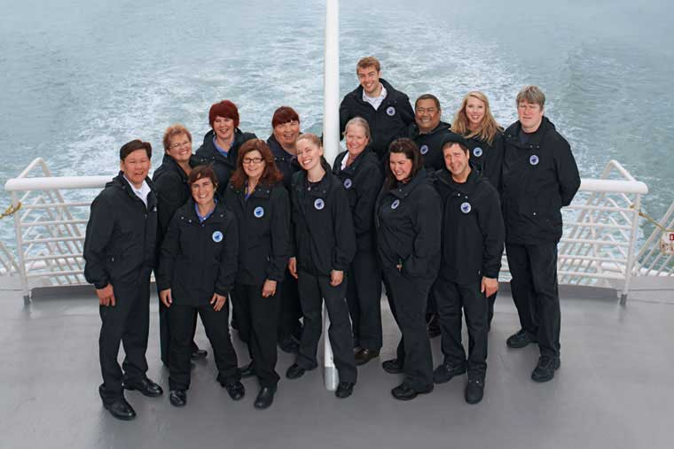 Lands' End featured the crew of the <em>MV Malaspina</em> in their business outfitters catalogue which launched in October &copy; Land's End Business Outfitters