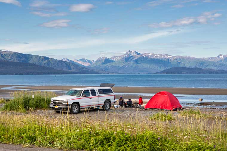 Camping on the beach along the Homer slough © Wayde Carroll Photography