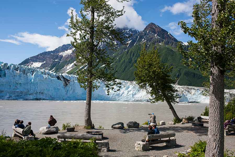 Visitors enjoy the views at Child's Glacier near Cordova © Wayde Carroll Photography
