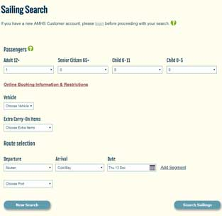 Screenshot of AMHS Sailing Search and Booking Tool
