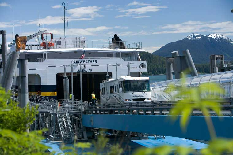 Vehicles departing off the vessel in Juneau Alaska © Chris Arend