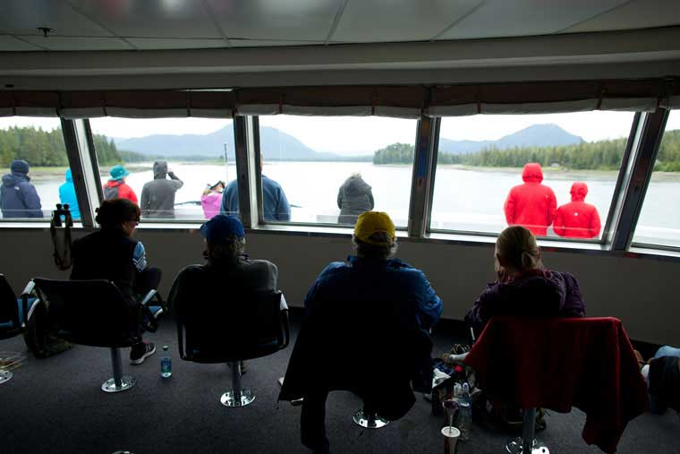The forward lounge gives panoramic view out the front of the vessel © Alaska Marine Highway System