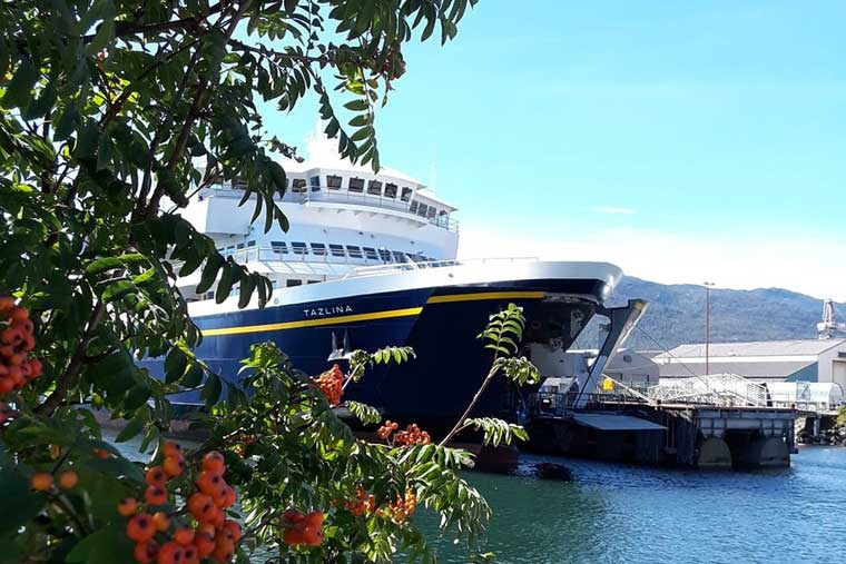 The MV Tazlina staged for tours in Ketchikan Alaska © Joy Craig