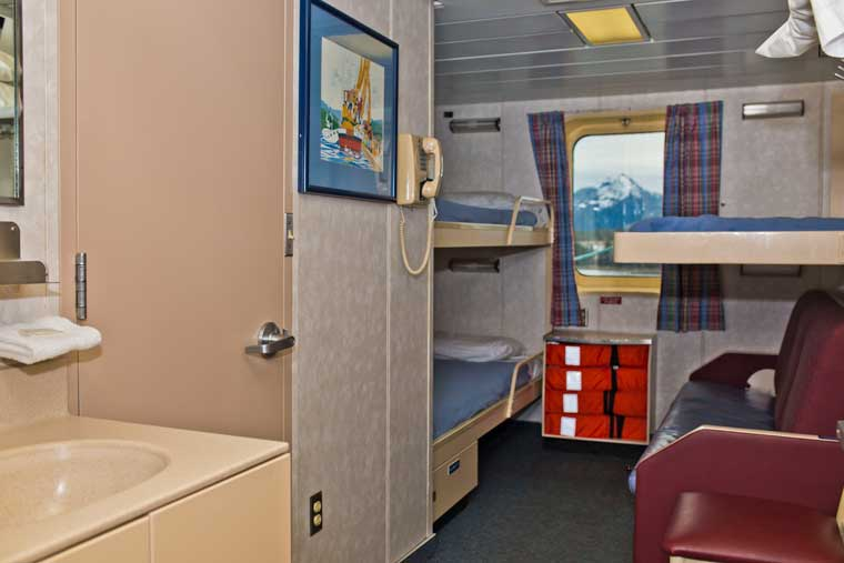 An outside four berth cabin with facilities on the <em>MV Kennicott</em> © Gene Christian / Alaska Marine Highway System
