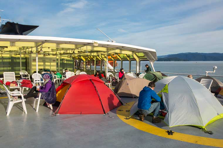 Campers and the Solarium of the <em>MV Matanuska</em> © Eric Lindberg / Alaska Marine Highway System