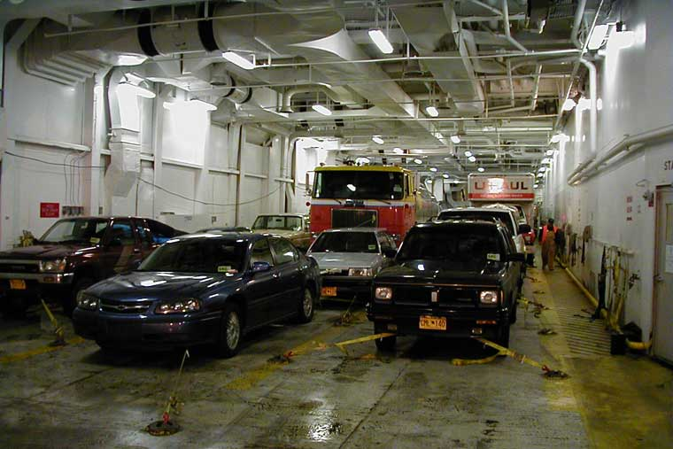 A loaded car deck on an Alaska Ferry © Alaska Marine Highway System