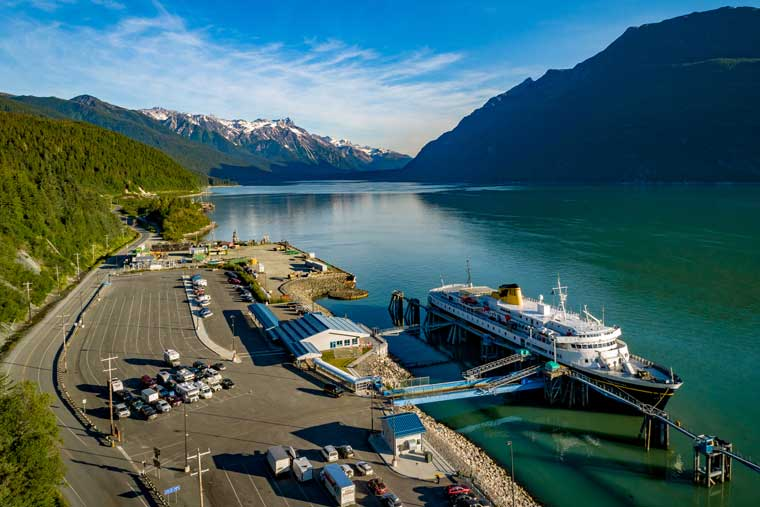 The AMHS terminal and parking in the port of Haines © Frank P. Flavin / Scott Strimple / Alaska Marine Highway System