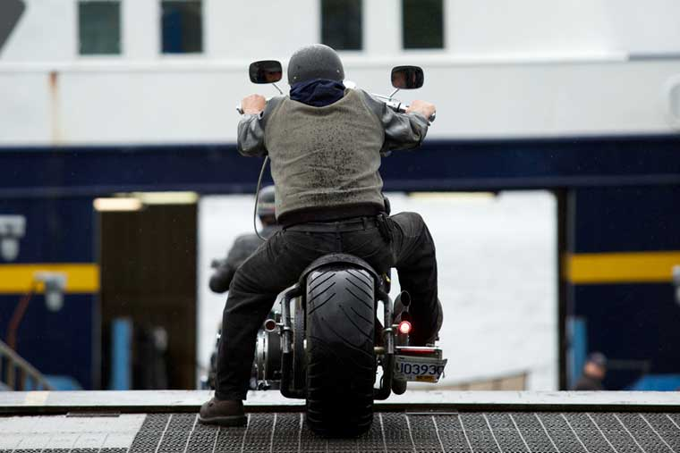 A motorcycle waits to board in Ketchikan © Brian Adams / Alaska Marine Highway System
