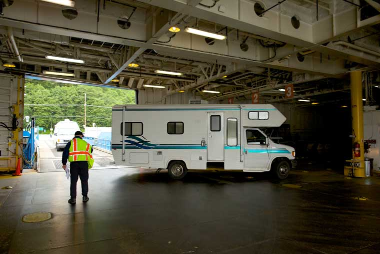 An RV boards the ferry in Juneau © Brian Adams / Alaska Marine Highway System