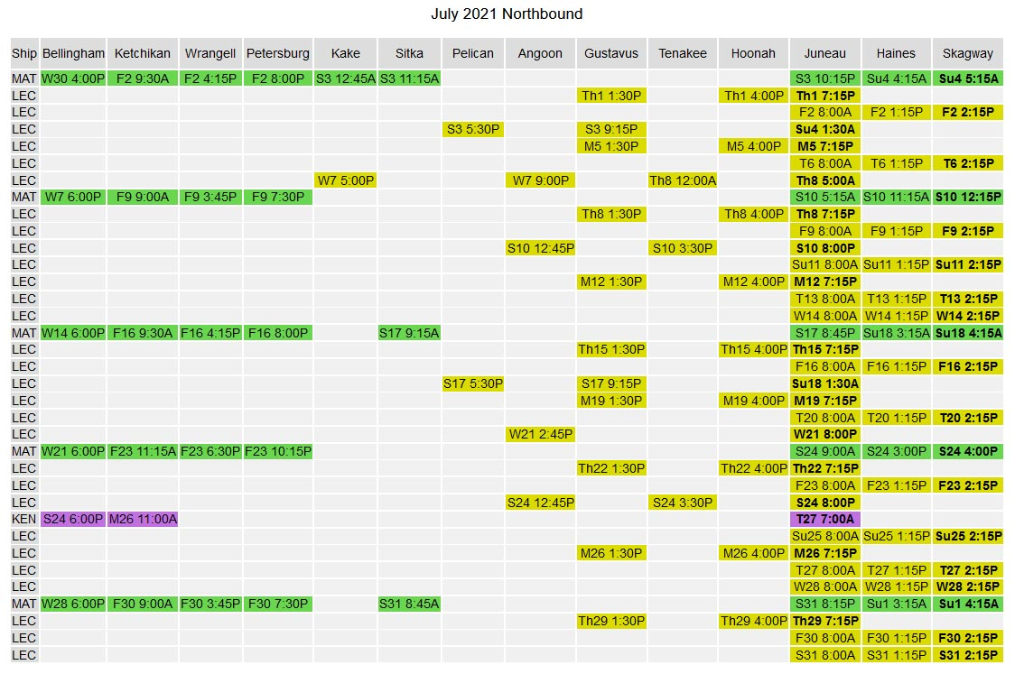 Screenshot of the AMHS Colored Grid Schedule © Alaska Marine Highway System