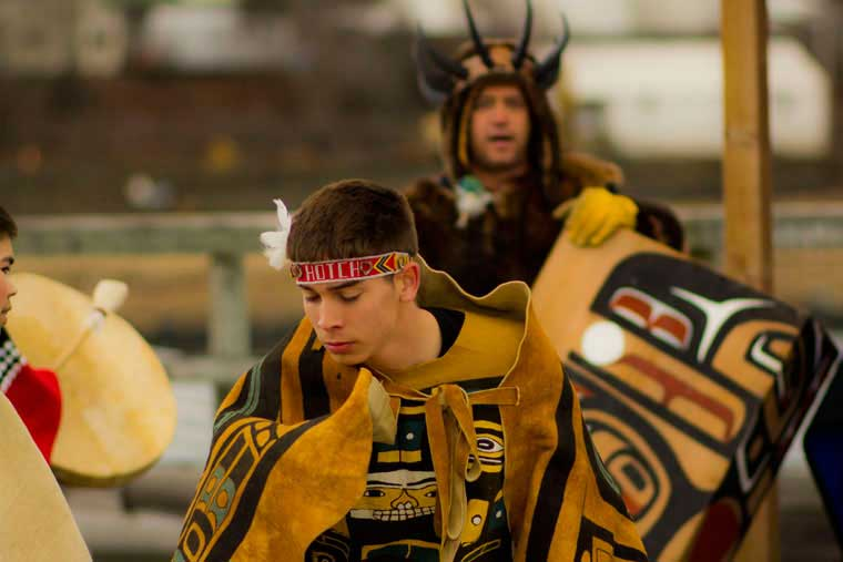 Chilkat dancers in Haines during 50 year celebration of the AMHS © Gene Christian / Alaska Marine Highway System