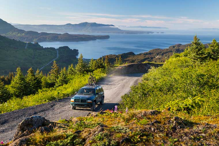Miles of road on Kodiak Island can lead you to adventure with a view © Wayde Carroll Photography
