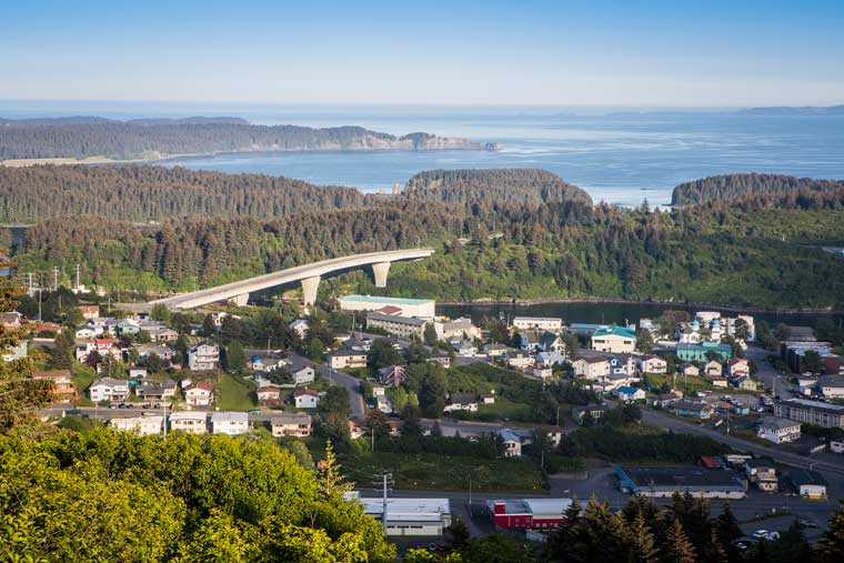 A scenic aerial view of the community of Kodiak © Wayde Carroll Photography