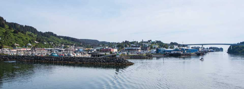The Kodiak waterfront and bridge from the water © Wayde Carroll Photography