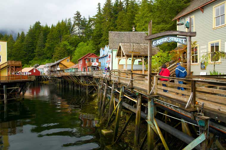 Historic creek street is easily accessible in downtown Ketchikan ©  Brian Adams Photography