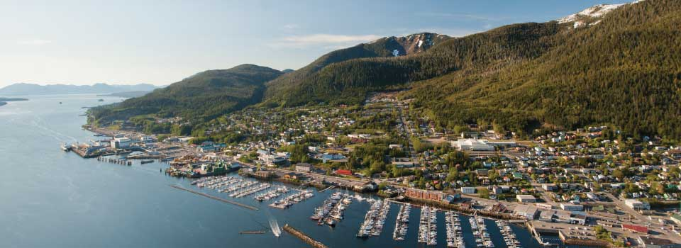An aerial view of the community of Ketchikan © Joshua Roper Photography