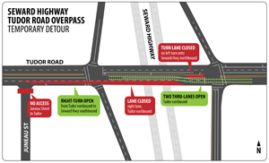 Seward Highway Tudor Road Overpass Temporary Detour Map
