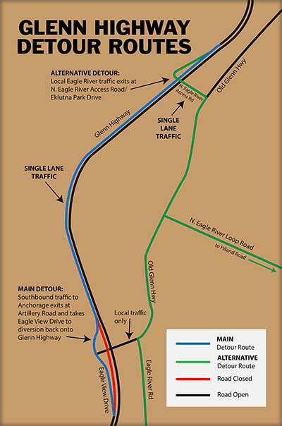 Click for larger image of Glenn Highway Detour Map