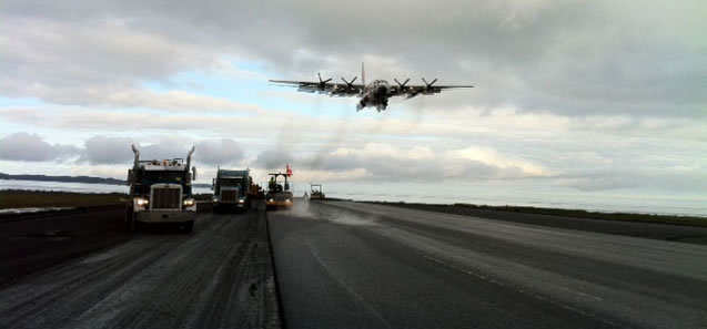 Paving construction at Kodiak Airport