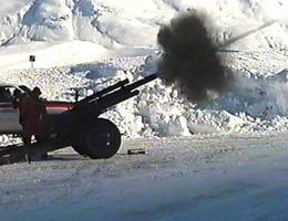 105mm Howitzer firing